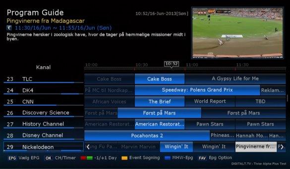Les informations EPG peut être visualisée à la fois dans une vue de calendrier et une liste régulière, ce qui est excellent. Lorsque vous affichez l'EPG vous avez toujours la chaîne de télévision sélectionnée, affichée dans une petite fenêtre.
