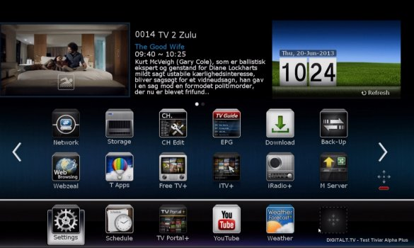 Le Tiviar a un look de menu à base d' icône iOS. Il est personnalisable et vous aurez accès à d'autres contenus à partir du menu simplifié en appuyant sur la flèche vers le haut.
